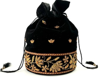 Indian potli bag, wrist bag, bucket bag, hand embroidered velvet handbag, zardozi purse,beaded pouch bag,drawstring pouch bag,Indian wedding