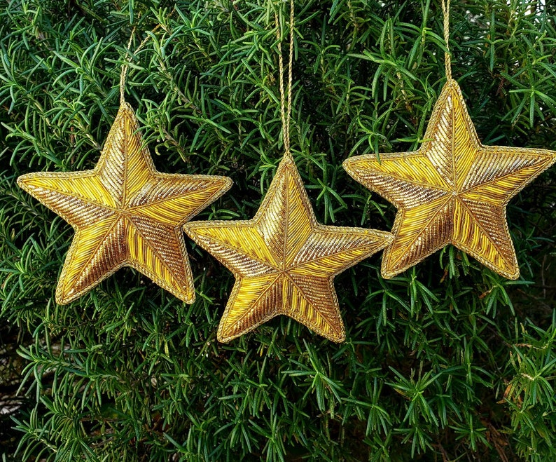 Hand embroidered Gold star Christmas ornament wine gift tags Three
