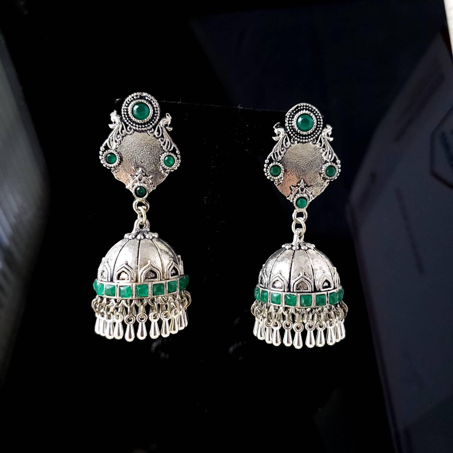 Designer Blue Earrings Oxidized German Silver Earrings Gift For Her Indian Stud Earrings| Blue Gemstone Earrings