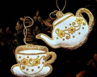 Tea pot and tea cup Christmas tree ornament, white gold Christmas decor, hand embroidered hanging holiday ornament, seasonal decor, holiday