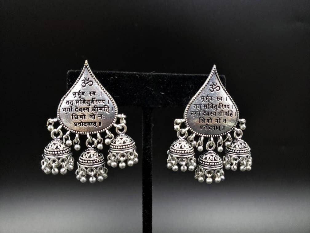 Om mantra India triple jhumka earrings, Hindu mantra jewelry