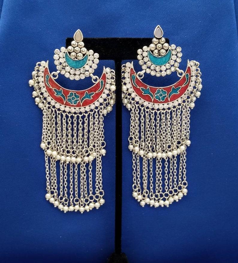 9204ee5b6 Indian jewelry Indian earrings chandbali earrings meenakari | Etsy