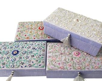 Gray silk bridal keepsake box, embroidered floral presentation box, jewelry storage box, memory box, trinket box, gift for bride groom