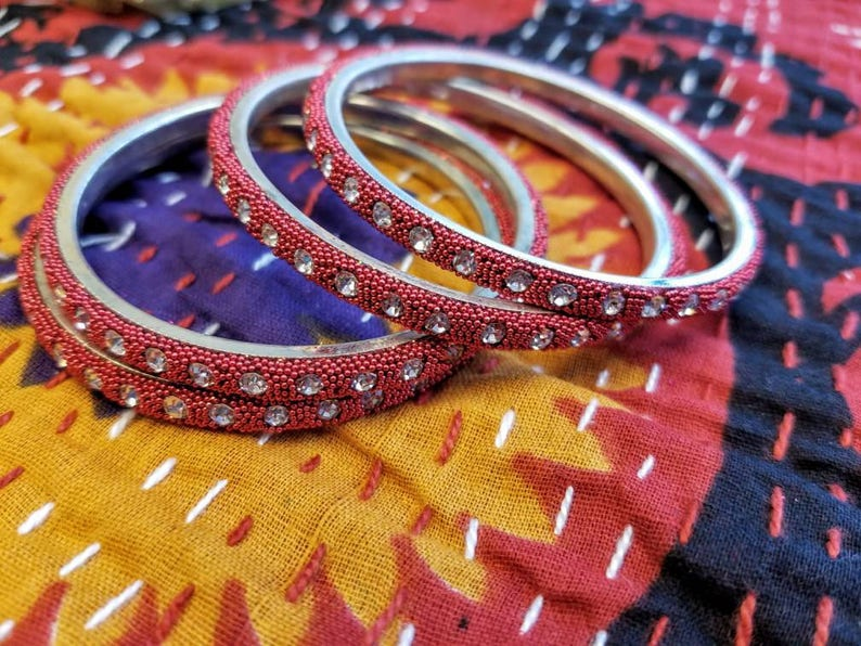 stacking bangles Red bangles rhinestone bangles Size 2.6 and Size 2.4 Valentine/'s gift gifts for her Indian bangles Indian jewelry