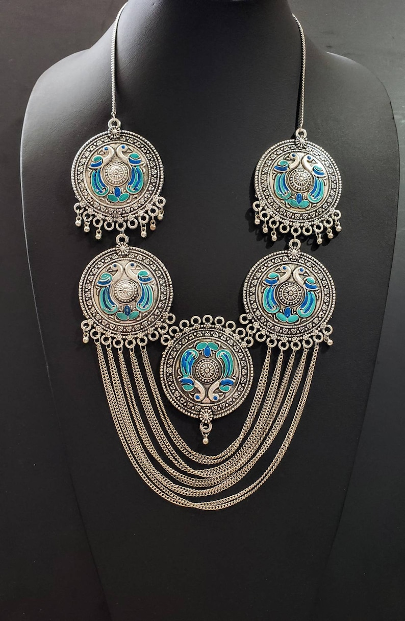 India jewelry Large India peacock chain necklace and large earrings boho peacock jewelry bird jewelry gift for her peacock lovers gift
