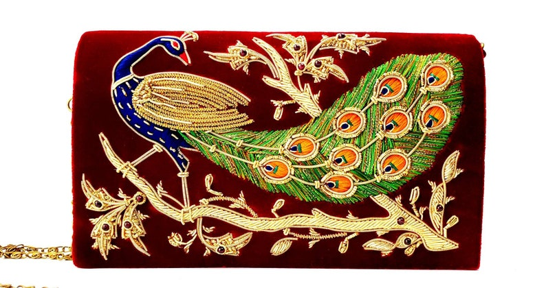 Peacock embroidery on burgundy red velvet evening clutch bag image 0
