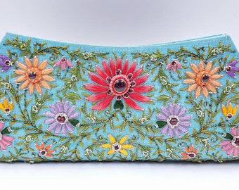 Jewel clutch, bridal clutch, embroidered turquoise silk evening clutch, wedding clutch,gifts for her, OOAK statement clutch,zardozi clutch
