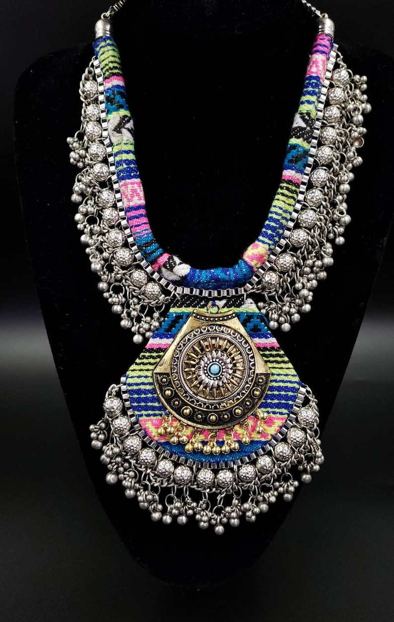 Dramatic silver statement rainbow pendant necklace boho bib image 0