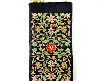 Floral crossbody phone sleeve, embroidered phone pouch, small crossbody bag, colorful sling bag, soft sunglasses case, soft eyeglasses case