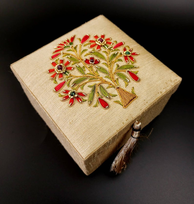 bridesmaid gift ring bearer box wedding ring box hand embroidered gift box engagement ring box keepsake box Small silk jewelry box