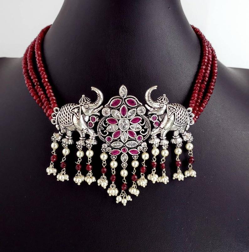 jhumka necklace animal jewelry India jhumka,elephant jewelry India elephant choker India CZ jewelry elephant lover gift
