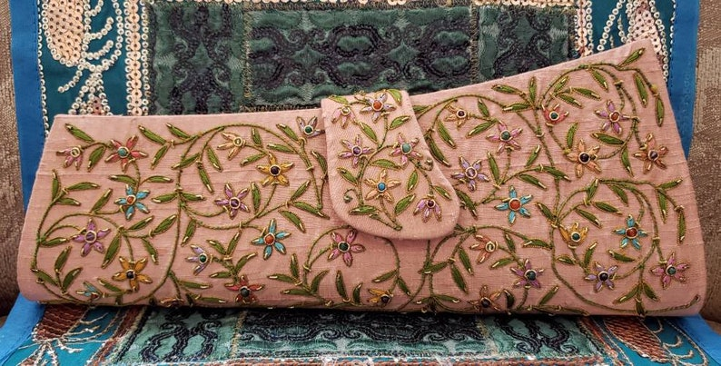 Hand embroidered floral peach clutch wedding clutch wedding image 0