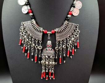 Afghani coin necklace with metal fringe, Afghani jewelry, oxidized silver festival necklace, jhumka metal tassel necklace, festival necklace