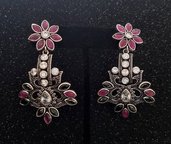 Silver Oxidized Finish Stones Gift Traditional Indian Earrings Bollywood Style Indian Jewelry Ethnic