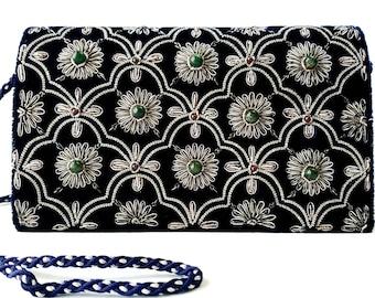 Navy blue velvet evening bag embroidered with antique silver flowers,OOAK statement clutch,Zardozi jewel purse,heirloom handbag,luxury purse