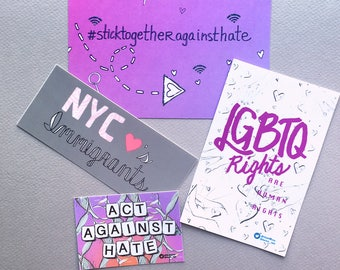 Vinyl sticker pack: NYC stick together against hate