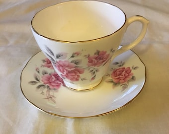 Vintage Duchess Pink Floral/Grey stems Footed Tea Cup and Saucer - Pattern DUC46 - scalloped gold trim edges