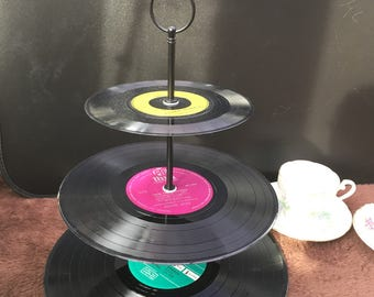3 Tier Vintage and Quirky Vinyl Record Cake / Cupcake / Sandwich Stands