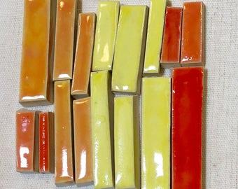 Red, Orange, Yellow Handmade Ceramic Mosaic Bar Tile Pack