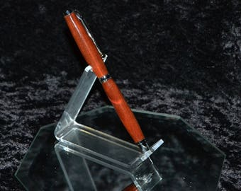 Handcrafted Chechen Wood Ink Pen with Chrome Hardware