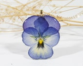 Viola Pansy Pressed flower necklace, Resin flower necklace, Terrarium Jewelry, Resin necklace, Real flower, Dried Pressed Flower, Botanical