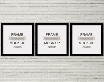 Download Free Simple frames mockup, three frames, wallhanging mockup, square frames, poster mockup, stock image, mockup, product mockup, downloadable PSD Template