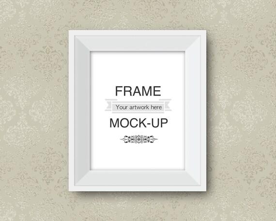 Simple white frame mockup beige neutral colors room mockup   Etsy