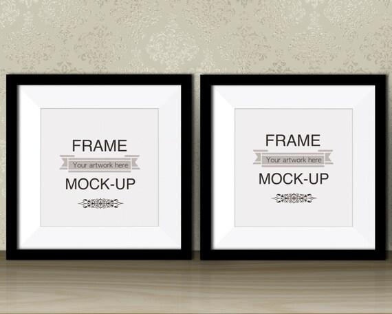 Two black frames square digital frame artwork mockup double | Etsy