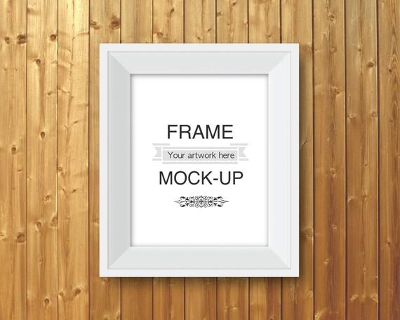 White frame mockup digital frame wood background 8 x 10 | Etsy