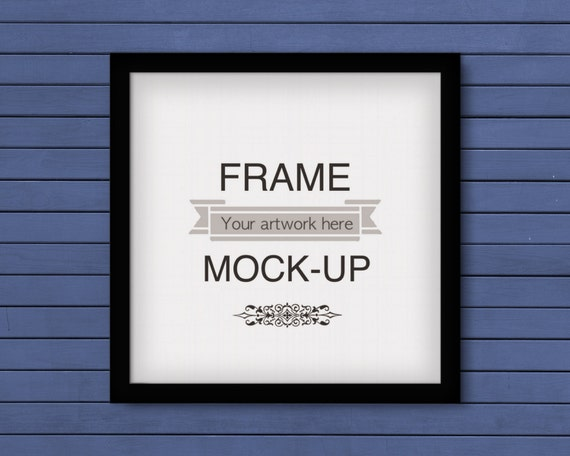 Poster mockup blue wood background 10 x 10 inch frame | Etsy