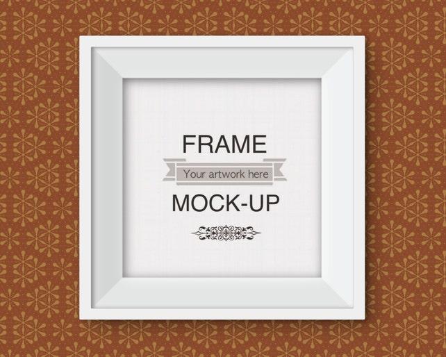 Square frame mockup funky wallpaper background simple white | Etsy