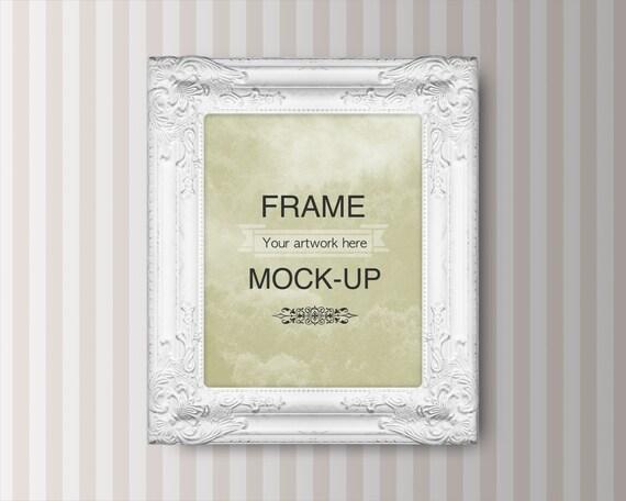 Frame mockup digital frame striped background 8 x 10 inch