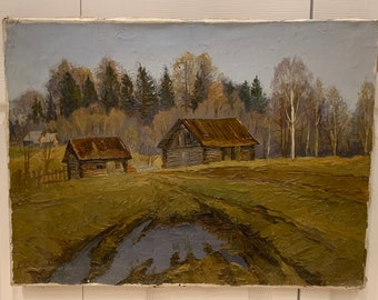 eternit roof The Cat House Oil painting Countryside autumn landscape Orange Cat in Country russian classic village