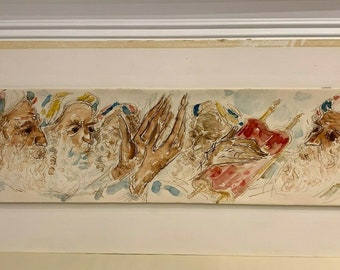 Rare Vintage Modern Abstract Art Signed Litho by Chaim Gross 1975 My People