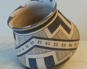 Vintage Native Acoma Pueblo Indian Pottery Tilted Bowl