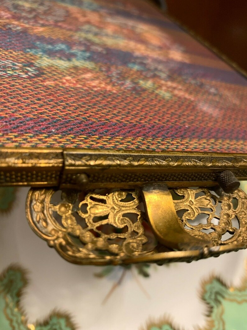 Vintage Victorian Style Footed Embroidered Panel Tray