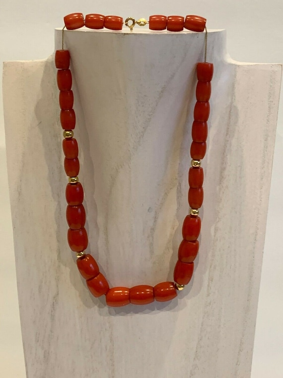 Vintage Cherry Amber Bakelite Barrel Beads and 14K