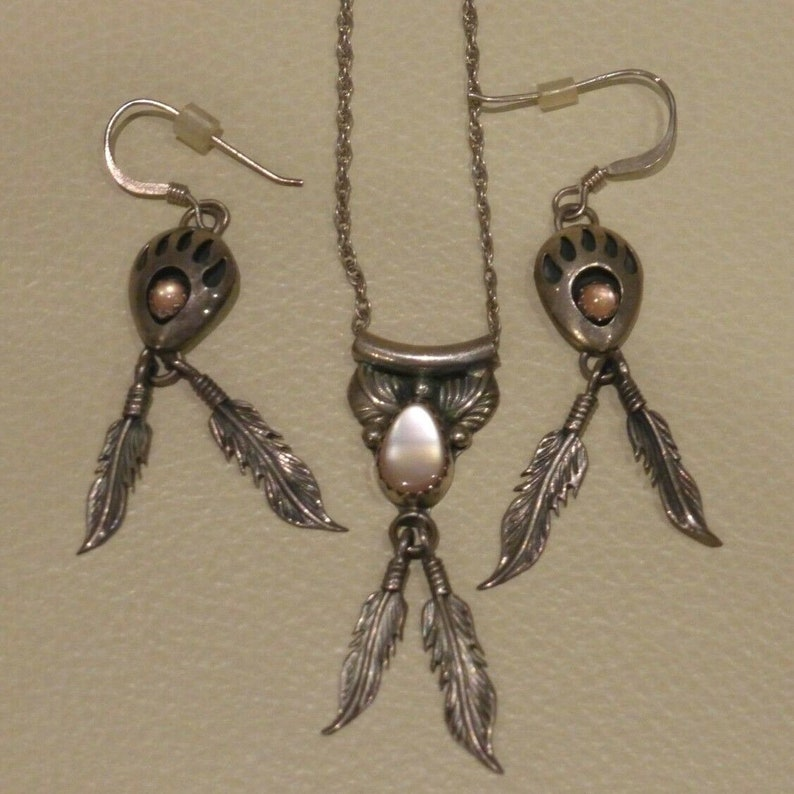 Vintage Navajo Richard Begay Sterling Silver Feathers Necklace and Earring