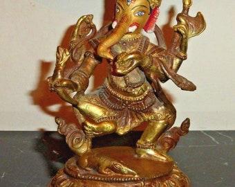Early Chinese Tibetan Bronze Gilt Ganesh Ganesha Elephant God Statue