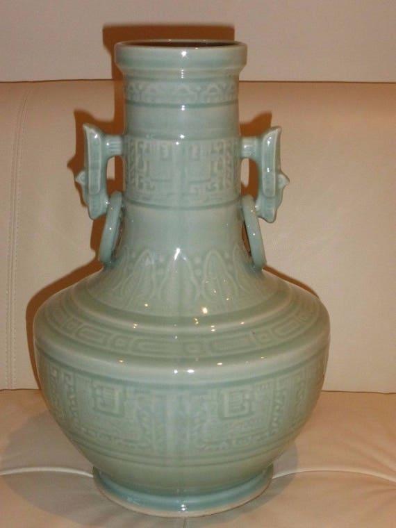 Large Antique Chinese Celadon Glazed Carved Porcelain Vase Etsy
