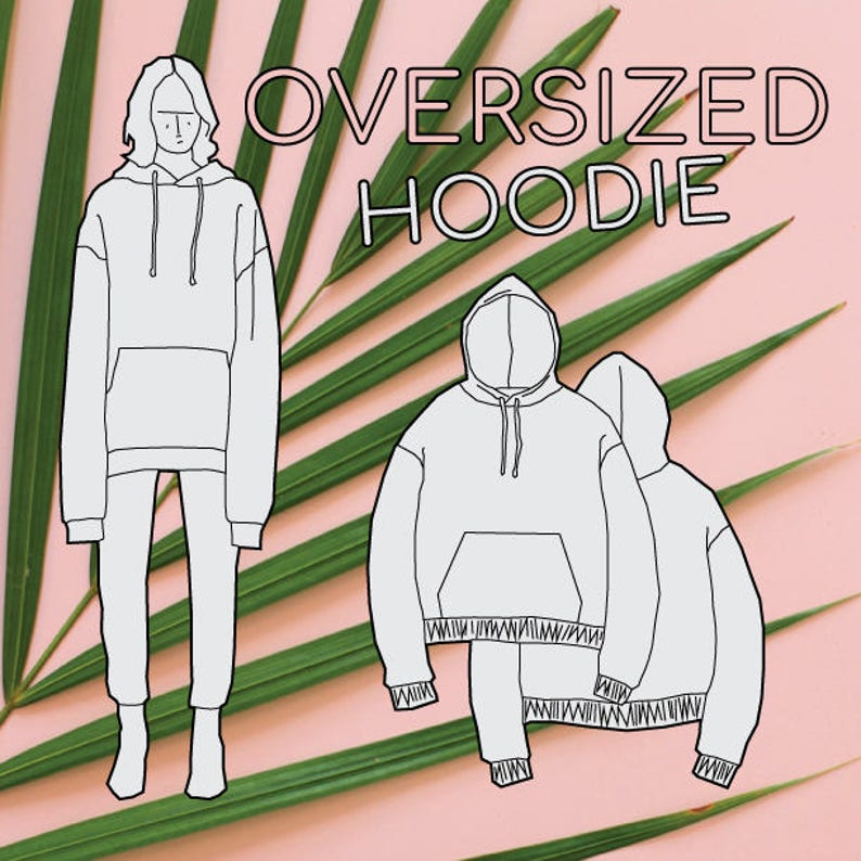 a2b16fd070d Oversized Hoodie PDF Sewing Pattern Sizes XS   S   M   L   XL