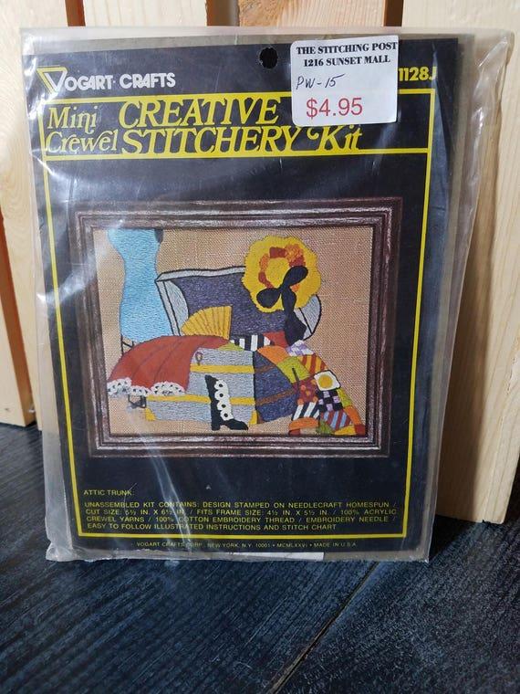 Attic Trunk Crewel Kit Vogart Crafts Creative Stitchery Etsy