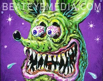 Xno,FRANKENSTEIN,HALLOWEEN,HORROR,Original Art,monster,monsters,comic art,comic,comic book,Ed Roth,tattoo,Hot Rod,Rat Fink,Big Daddy Roth