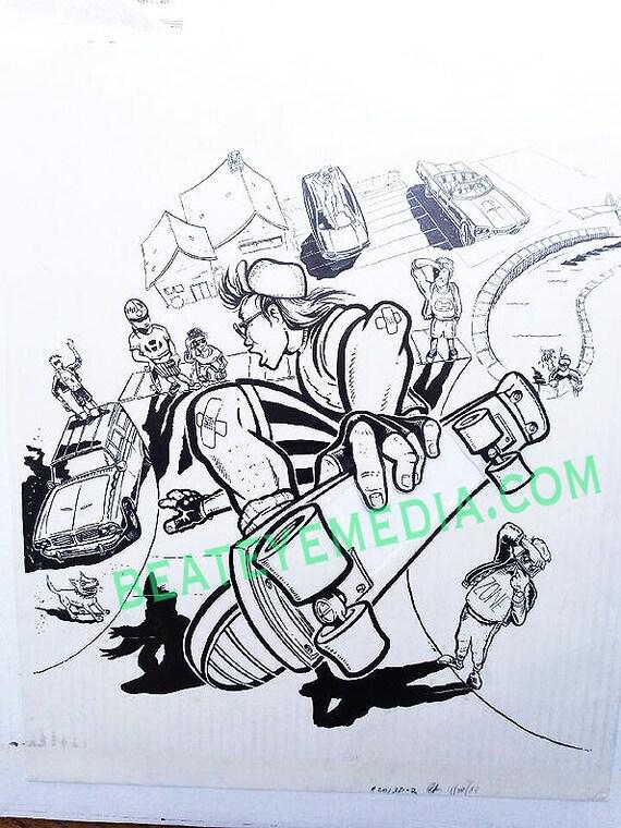 The Pizz Skateboard Original Art Hot Rod Rat Fink Ed Roth Big Daddy Roth Comic Comic Book Skater Thrasher Tattoo Powell Peralta Comic Art