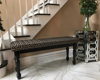 Upholstered Greek Key Bench