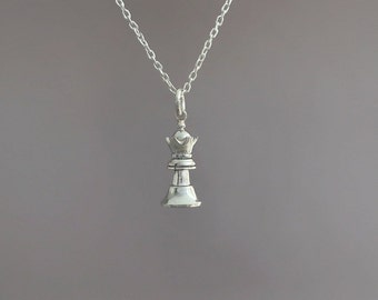 84d78ced0af Sterling silver queen chess necklace - Queen chess necklace - Queen pendant  - Queen pendant - Chess pendant