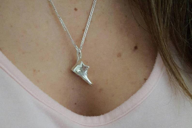 Silver shoe charm Sterling silver shoe necklace Traveler pendant 925 Sterling silver shoe pendant Shoe pendant necklace