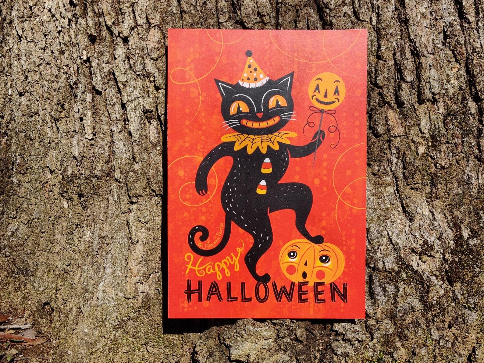 Johanna Parker Happy Halloween Cat Plaque Wood Cutout