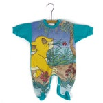 Disney's the Lion King's Simba Carrying a Flower - 9M Baby Onesie/Sleeper - Teal blue - Unisex