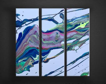 Rainbow Color Splash 3 Panel Original Fluid Acrylic Abstract Painting Fine Art on Canvas